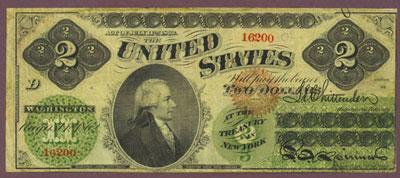Historia kontroli bankowej w USA Green back 1862