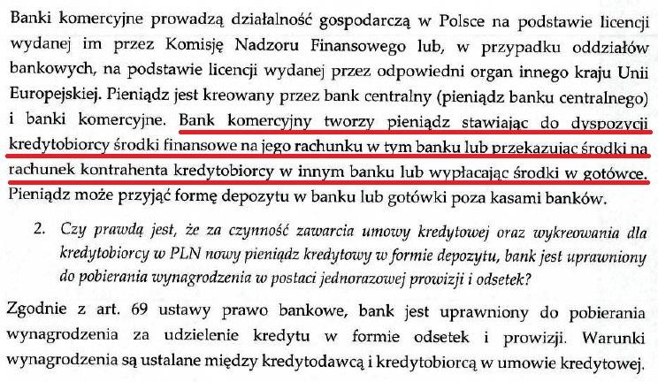 Obalamy mit: Kredyty nie powstają z depozytów. To depozyt powstaje z udzielonego kredytu [odpowiedź NBP] NBP odp 2 1