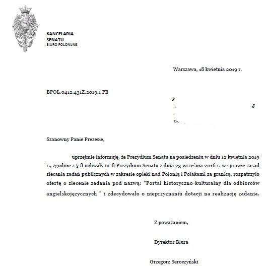 """Portal o współczesnej historii Polski + konferencja w Nowym Jorku """"Polska kolebką demokracji"""" - według Dobrej Zmiany Polska nie potrzebuje takich projektów Pismo o nie przyznaniu dotacji bez podania przyczyn"""