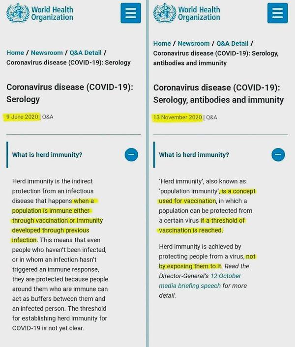 """WHO potajemnie w październiku 2020 r. zmieniło definicję """"odporności stadnej"""" who oszustwo 1"""