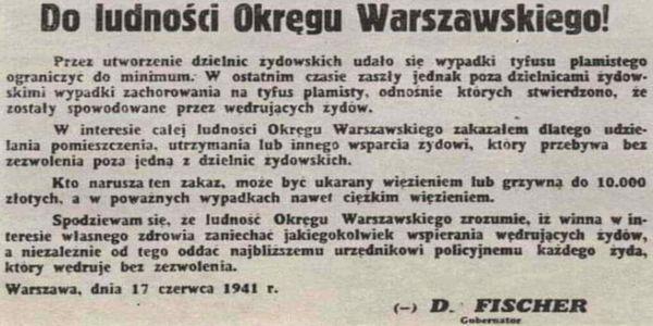 Ogłoszenie niemieckiego zbrodniarza z 1941 roku. Ku przestrodze w 2021 roku 1941 tyfus 2021 ku przestrodze