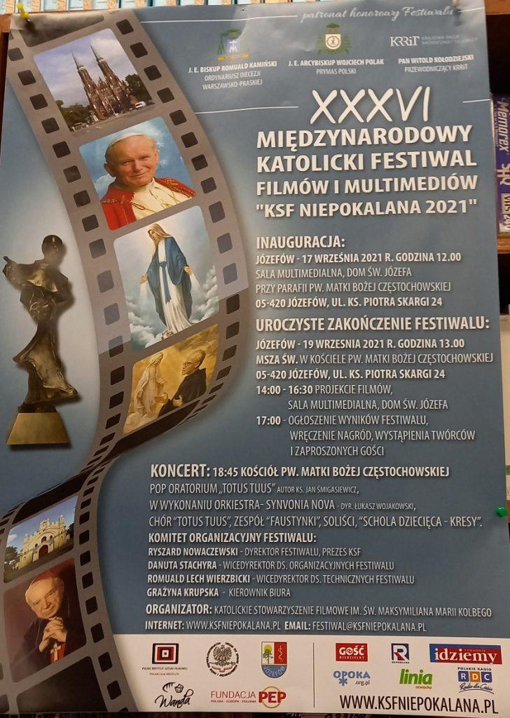 Zapraszamy na Festiwal KSF Niepokalana 2021 i Festiwal Polonijny Losy Polaków plakat KSF Niepokalana 2021