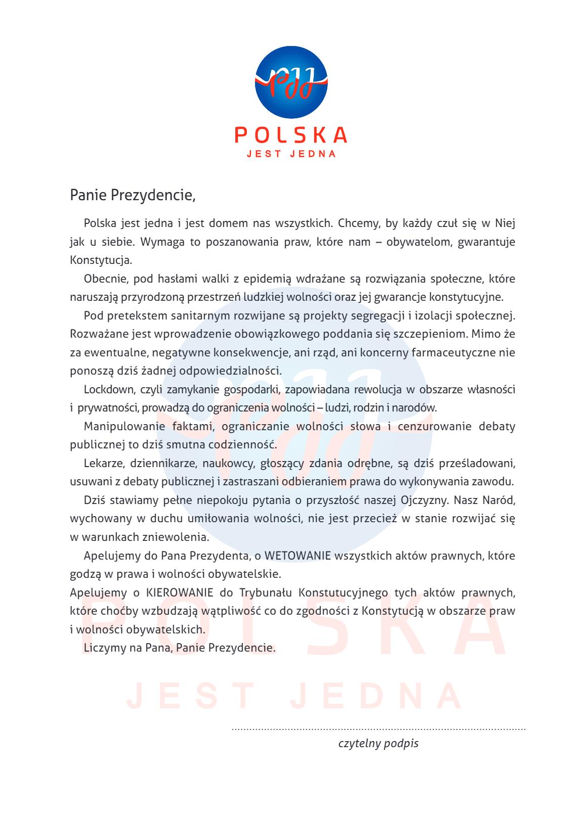 """Powstał ruch """"Polska Jest Jedna"""" sprzeciwiający się segregacji sanitarnej [+WIDEO] pobrany plik"""