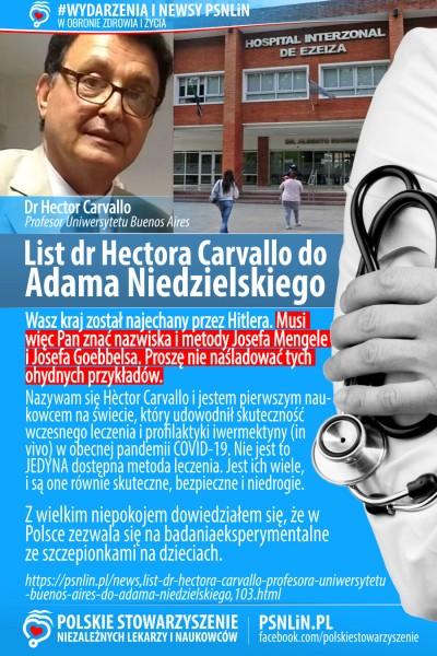 """List dr Hèctora Carvallo, profesora Uniw. Buenos Aires do Adama Niedzielskiego: """"Niech Pan nie naśladuje Mengele i Goebbelsa"""". obraz 2021 10 02 160911"""